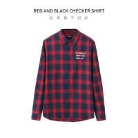 【一件三折】森马旗下新款翻领字母印花格式衬衫男士衬衣衬衫男长袖衬衫