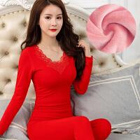 新款保暖内衣女加厚加绒一套装美体紧身V领秋衣冬季棉毛衫红结婚