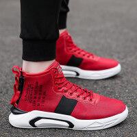 帆布鞋男士秋冬潮鞋韩版潮流嘻哈板鞋内增高男鞋子高帮加绒运动鞋
