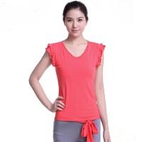 韩版显瘦荷叶边上衣女士瑜伽服上衣无袖纯色T恤 新款健身衣 瑜珈服上装