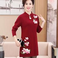 中老年人中长款打底衫长袖羊毛衫妈妈秋冬连衣裙长袖40-50岁包臀