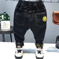 韩版童装冬季新款男童韩版笑脸百搭加厚加绒弹力牛仔裤子A5-B25
