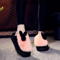 2018新款棉拖鞋女冬季居家用室内保暖可爱厚底防滑韩版冬天毛毛绒 桔红色 鞋偏小请拍大一码