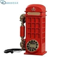 复古电话机座机新款电话座机个性美式复古固定欧式电话亭电话机仿古创意家用 按键款免提 加来显 加蓝屏