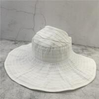 折叠遮阳帽夏天女大檐帽空顶帽防晒太阳帽沙滩帽出游子 白色 折叠款