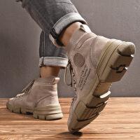 №【2019新款】冬天年轻人穿的男士高帮棉鞋短靴子英伦加绒雪地靴工装户外百搭马丁靴男