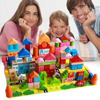 【满199减100包邮】萌味 木质积木 208粒城市交通游戏积木正品木制儿童益智玩具榉木彩色积木