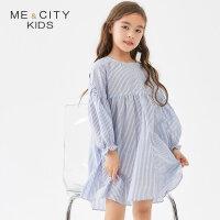 【1件5折到手价:122.5,4月10日0点】米喜迪mecity童装2019夏新款女童条纹连衣裙学院风公主长袖裙子