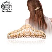 皇家莎莎RoyalSaSa头饰韩版时尚饰品合金仿水晶贝珠皇冠发卡横夹发饰马尾夹弹簧夹