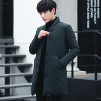 冬季韩版立领羽绒服男中长款大码宽松中国风青年加厚白鸭绒潮外套