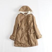 秋冬女中长款 可脱卸连帽羊羔绒内胆工装系带两穿外套30E