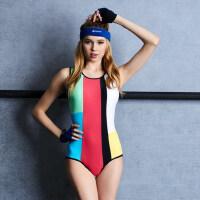 女士专业运动游泳装 撞色性感温泉泳衣女 新款连体三角遮肚显瘦小胸聚拢泳装