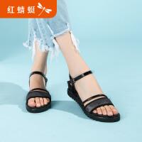 【红蜻蜓抢购,领�患�100】红蜻蜓正品女凉鞋夏季新款甜美一字带坡跟露趾真皮凉鞋女