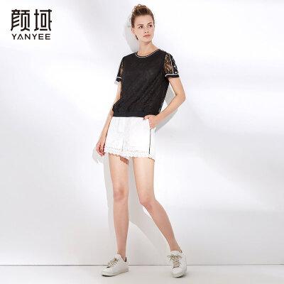 颜域气质上衣女夏2018新款女士白色短袖镂空修身显瘦蕾丝衫小衫