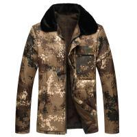 秋冬季中年男士迷彩棉衣外套加绒加厚棉袄男工作劳保迷彩上衣