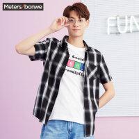 【狂欢返场,专区1件3折】美特斯邦威短袖衬衫男2018夏装新款复古潮流格子短袖衬衫