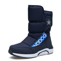 户外2018新款时尚儿童牛皮中帮御寒鞋男女童防寒雪地鞋靴