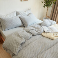 日式简约针织棉四件套细条纹床笠床单床上用品 2m 床笠款-四件套(适配220cm*240cm被