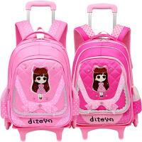 小学生拉杆书包6-12周岁女孩3-5年级可拆卸1-3年级儿童三轮拖拉包
