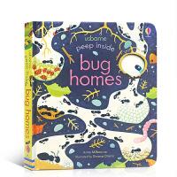 【全店300减100】Usborne偷偷看里面 虫穴 英文原版绘本Peep Inside Bug Homes 儿童昆虫科