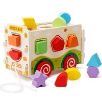 儿童木制拆装积木拉车男孩女宝宝早教益智形状配对1-3-6周岁玩具 拆装形状车
