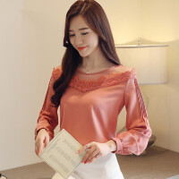 2018秋装新款韩版蕾丝网纱拼接洋气小衫长袖遮肚子雪纺打底衫