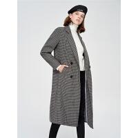 初语长款大衣女2018秋冬款复古格纹宽松双排扣西装领羊毛呢子外套