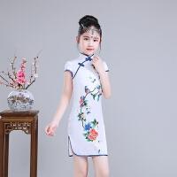 儿童旗袍夏中国风丝绸亲肤透气女童唐装公主裙古筝演出服