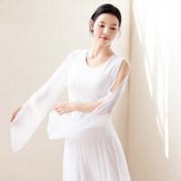 新款女士瑜伽比�服舞蹈演出服上衣棉露肩白色�h逸上衣女瑜伽服女