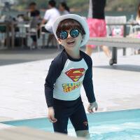 韩版夏季男童卡通长袖短裤分体游泳衣套装 海滩防晒温泉泳衣 超人两件套