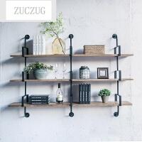ZUCZUG墙上墙壁置物架壁挂书架创意装饰架子实木层板客厅工业风铁艺壁柜