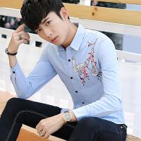 施衣品新款秋季个性韩版潮流花衬衣男士衬衫长袖修身帅气C212-8891
