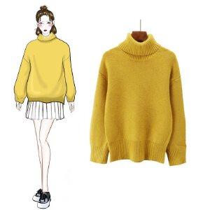 VIPEBUY 套头宽松针织衫女2018秋冬季新款学生风长袖装韩版纯色高领针织衫毛衣