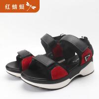 红蜻蜓小香风魔术贴真皮凉鞋女夏季新款平底罗马厚底鞋潮