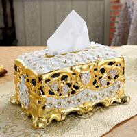 陶瓷纸巾盒 家居客厅茶几装饰工艺品电镀抽纸盒