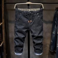 松紧腰系带男士牛仔短裤夏季韩版七分裤薄款修身百搭潮7分裤弹力