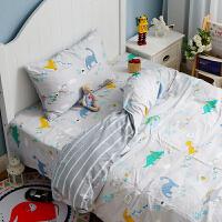 恐龙被套床单四件套纯棉卡通床上三件套1.2m米床笠儿童小男孩床品 先森 B面是纯棉水洗棉