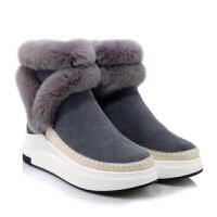 冬季新款棉鞋加绒休闲保暖兔毛短靴女中高跟平底短筒及踝雪地靴潮真皮 灰色 运费险