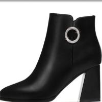 2018秋秋季新款靴子女短靴黑红粗跟马丁靴高跟鞋皮靴高帮女鞋英伦风