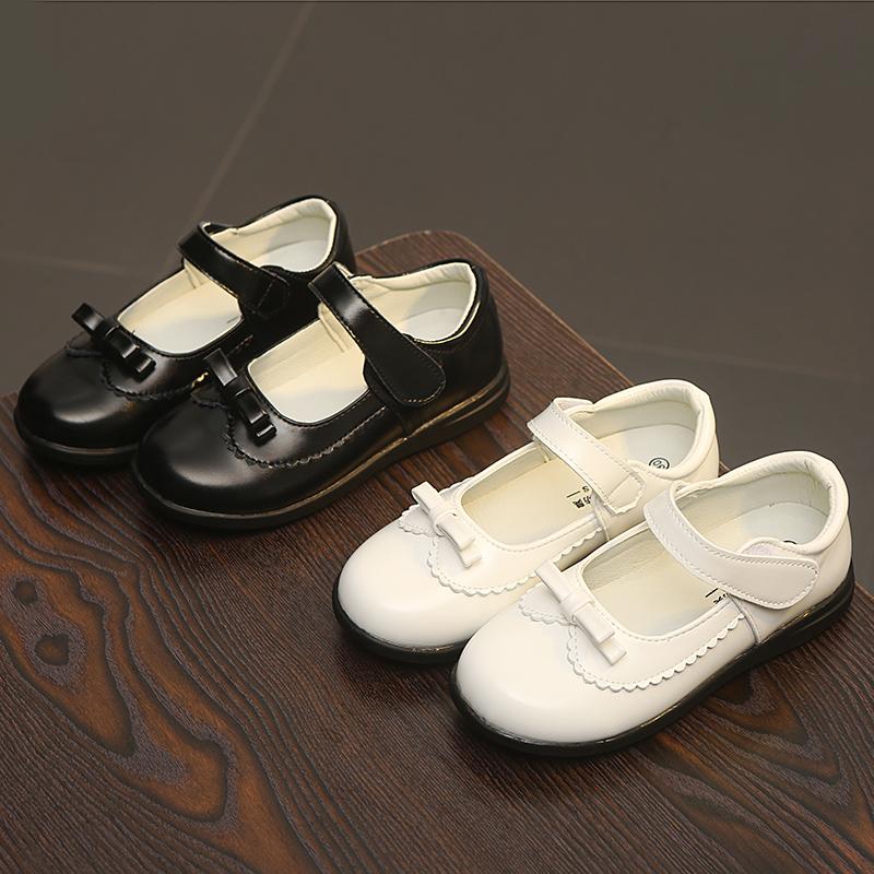 女童单鞋学生鞋节目表演出鞋公主鞋白色黑色小皮鞋舞蹈鞋软皮软底