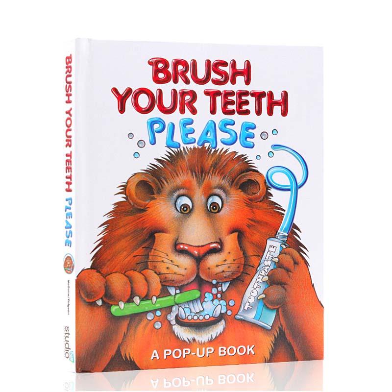 请刷牙英文原版绘本立体书Brush Your Teeth, Please帮助低幼儿童养成良好生活习惯大家来刷牙口腔健康教育习惯培养养成进口书籍