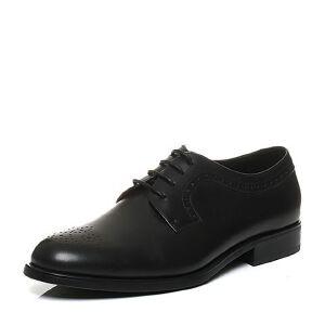 Bata/拔佳秋季专柜同款镂花方跟牛皮男单鞋C2101CM6