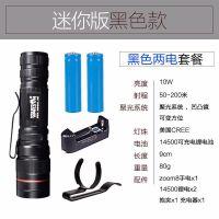 LED超亮迷你强光手电筒可充电户外防水家用超小袖珍微型式 双锂电池版本