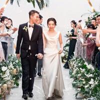 双肩性感领口缎面长款敬酒服晚会宴会礼服女新娘结婚婚纱新款 米白色
