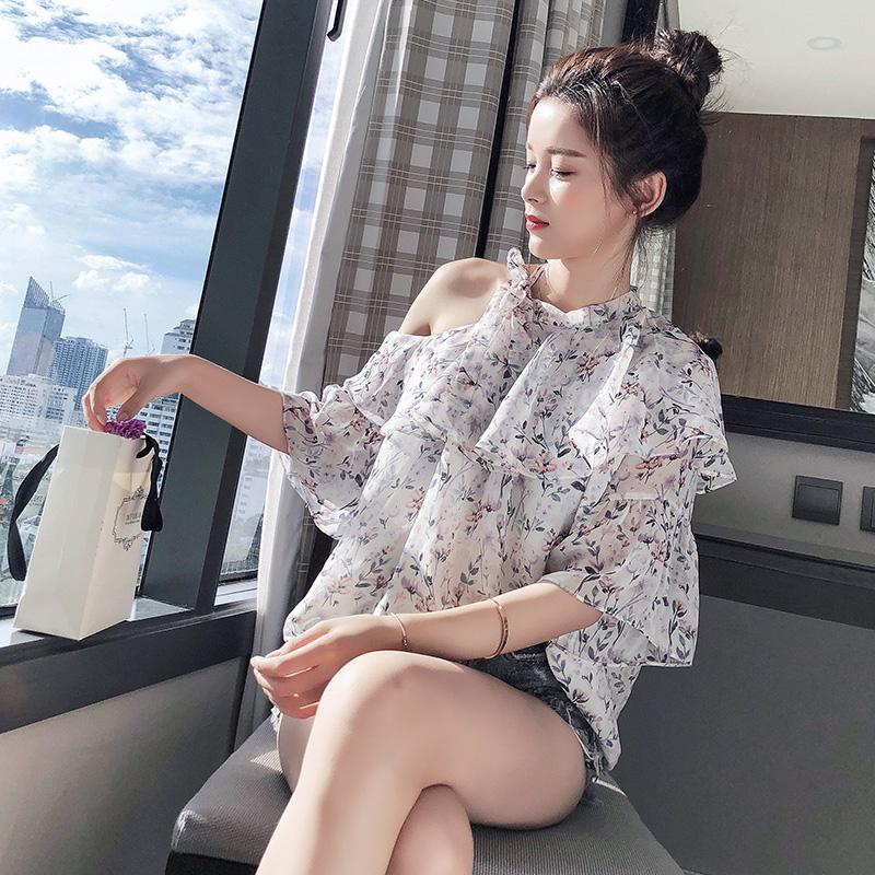 谜秀雪纺衫女夏装2018新款韩版宽松露肩心机超仙碎花遮肚子上衣潮