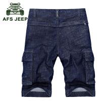 战地吉普AFS JEEP牛仔五分裤短裤男款纯棉版潮男士大码短裤6832