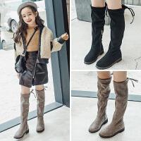 女童过膝靴子2018秋冬季新款儿童加绒公主高筒靴小女孩长靴