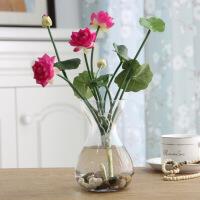 家居仿真荷花莲花绿萝玻璃花瓶 塑料假花绢花小盆栽 家居装饰花小摆件