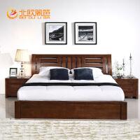 北欧篱笆实木床 纯榆木1.8米双人床婚床 气压储物高箱床