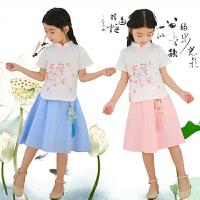 女童汉服中国风古装民族服装改良复古唐装儿童民国风套装